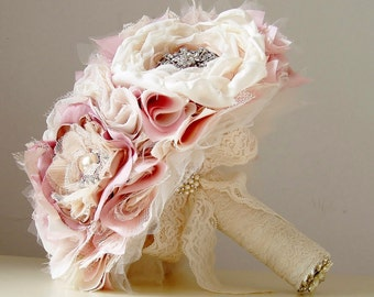 Wedding Brooch Bouquet,  Fabric Flower Bouquet,  Vintage Wedding,  Fabric Bridal Bouquet,  Weddings, Vintage Pink, Champagne, Off White