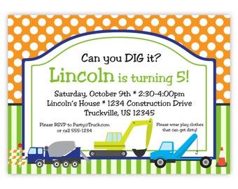 Construction Invitation -  Orange Polka Dot, Green Stripes, Crane, Cement Truck Personalized Birthday Party Invite - Digital Printable File