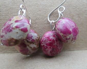 Jasper Gemstone Drop Earrings 00015 kbrownjewellery - Jasper Dangle Earrings #Pink Gemstone Earrings #Handmade Gemstone Earrings