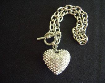 Silver tone Heart and Rhinestones Bracelet
