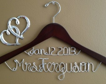 Personalized Bridal Hanger with Date,Wedding Bridal Hanger, Date Brides Hanger, Bride, Name Hanger, Wedding Hanger, Personalized Bridal Gift