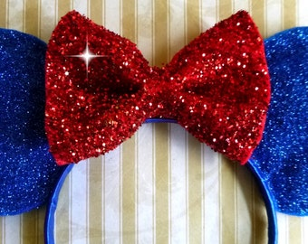Minnie Mouse  Ears Headband 4TH of July USA Independence Day Red White and Blue Red Bow Fits Adults and Children Handmade