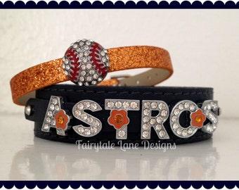 Orange and Navy Blue ASTROS Rhinestone Baseball Sparkle Charm Bracelet Set
