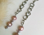 Cultured Pearl Earrings Handmade Wire Wrapped Wine