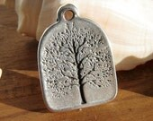Tree of life spacer finding charm pendant sterling silver plated with sterling silver plated 8 micras coat