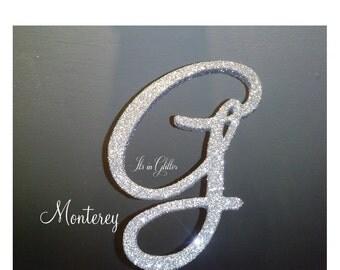 Monogram cake topper 5 inch Silver Glitter