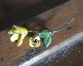 Vintage Yellow Rose Pin