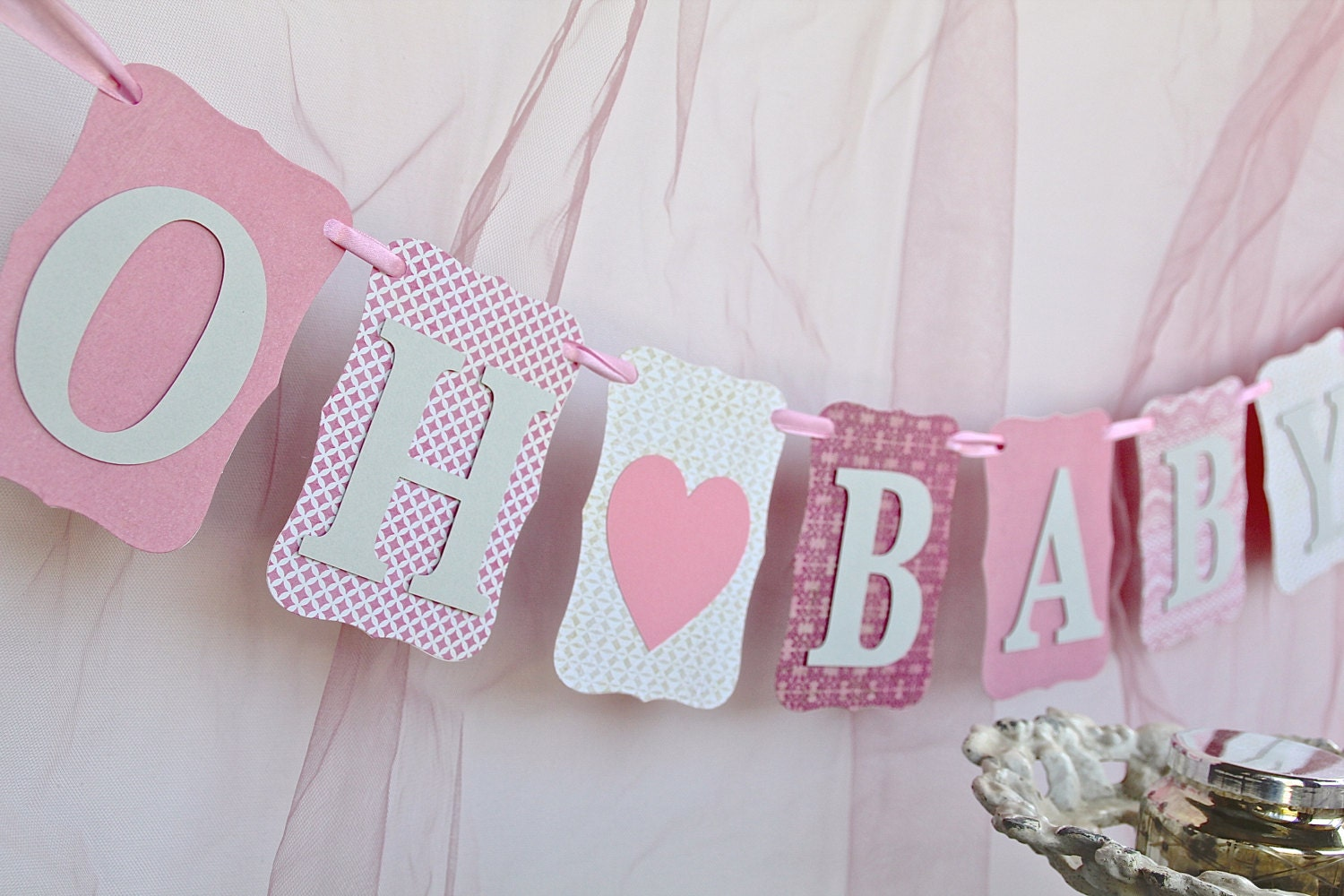 Baby girl shower decorations oh baby pink and gray - Baby girl baby shower decorations ...