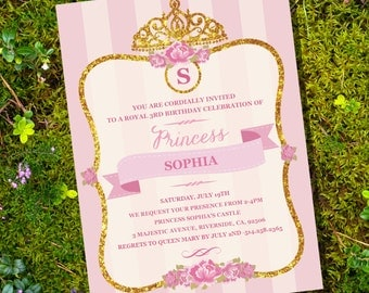 Gold Glitter Princess Party Invitation - Sophia the First - Instantly Downloadable and Editable File - Personalize at home with Adobe Reader