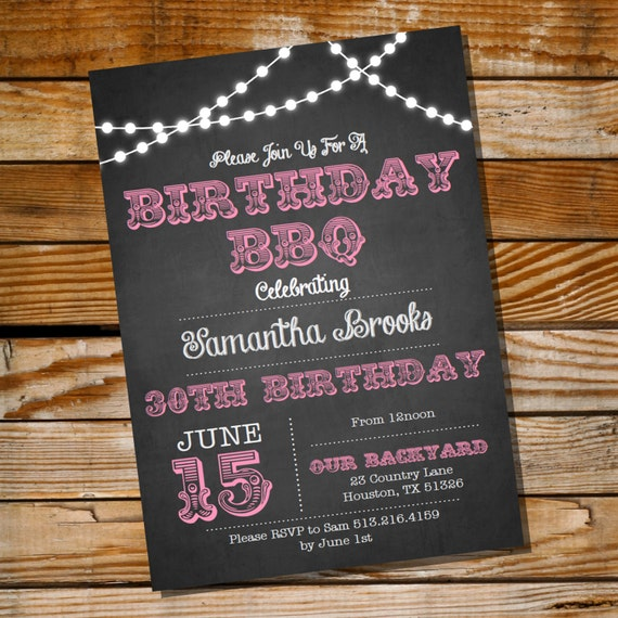 chalkboard bbq birthday invitation 16th 20th 21st 25th 30th 40th 50th 60th birthday invitation. Black Bedroom Furniture Sets. Home Design Ideas