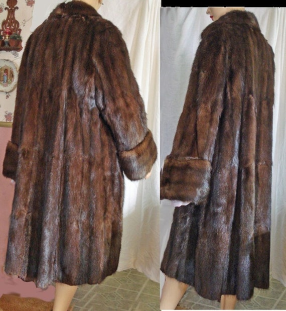 50s Mink FUR Coat Full Length M-L Mahogany Red Brown