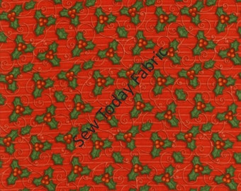 Tossed Holly Red - Believe Collection by Shelly Comiskey from Henry Glass Fabrics 6242-88 (sold by the 1/2 yard)