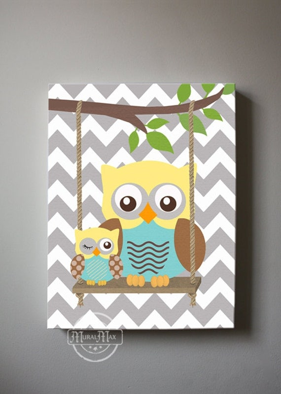 Baby Boy Room Paint Ideas: Baby Boy Room Decor Owl Decor Boys Wall Art OWL Canvas
