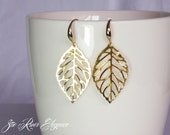 SALE! Promo code RIVER10 for 10% discount Gold leaf earrings, Low shipping! Elegant and dainty