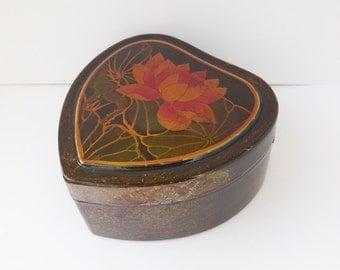 Heat Brown Lotus Asian Trinket Box