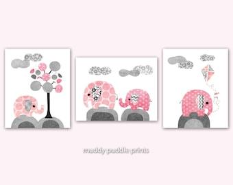 Pink and Grey Nursery decor, Nursery art, Nursery prints, Pink, Grey, Elephant - Pink it is