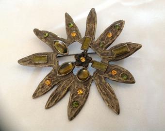 Vintage Fall Flower/Sunflower Brooch