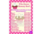 Cupcake Baby Shower Game, Cupcake Theme Baby Shower, Printable Girl Baby Shower Game, Who Knows Mommy Best, Sweet Theme Baby Shower Game