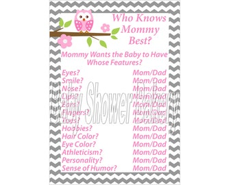 Pink Owl Baby Shower Game, Chevron Baby Shower Game, Printable Owl Baby Shower Game for Girl, Who Knows Mommy Best Pink and Grey Baby Shower