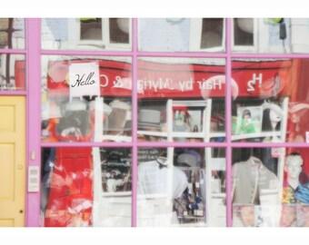 hello Portobello- pink window- window photography-London photography-fashion window shoot- reflection of light- men blouse picture- men gift