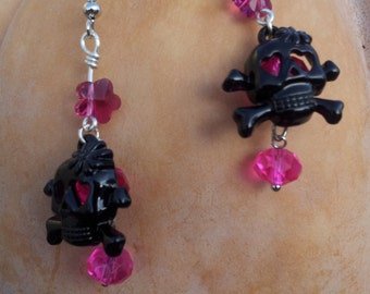Pink and Black Girlie Skull Earrings