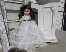 "1965 Madame Alexander Scarlett O'Hara Gone w the Wind Doll Green Eyes 13"" Tall"