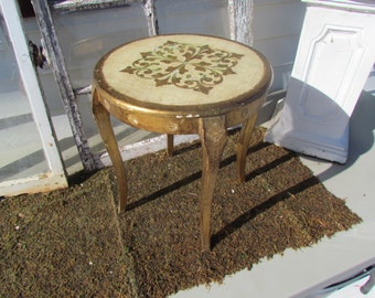 Antique Vintage Florentine Florentia Italy Italian Wooden Side End Table Round