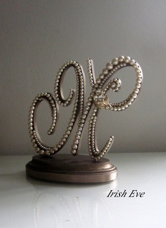 Wedding Cake Topper// Monogram Letter M in by ButtercreamPearl
