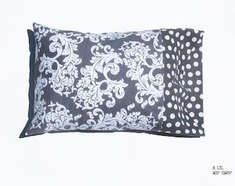 Travel Size Pillow Case//Gray Damask & Polka Dot//Preschool//Baby//Girl