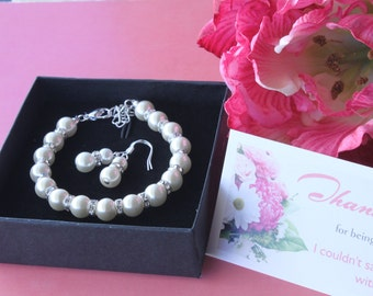 50% OFF SALE Pearl Jewelry sets with Bracelet and Earrings