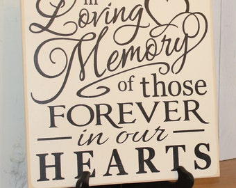 In Loving Memory/of those Forever in our Hearts/Memorial Sign/U Choose Colors/Great Shower Gift/Black/Ivory/Wood Sign