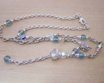 Vintage Silver Tone Crystal Y Necklace / Gift for Her / J250