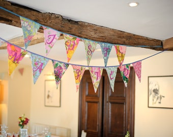 Just Married Bunting Banner, custom hand sewn with sequins. Perfect wedding decor or gift