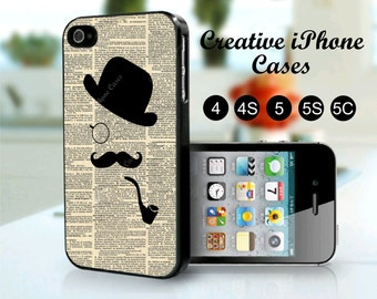Dictionary Art Mustache Derby hat Smoking Pipe - iPhone 4/4s, iPhone 5/5S, iPhone 5C, iPhone 6, iPhone 6 Plus