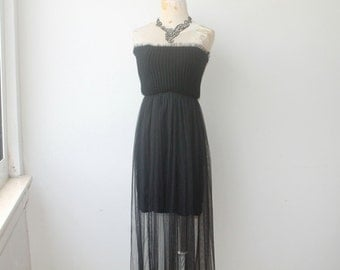 Black Tulle Dress, Black Tube Dress, Long Tulle Dress, Vintage