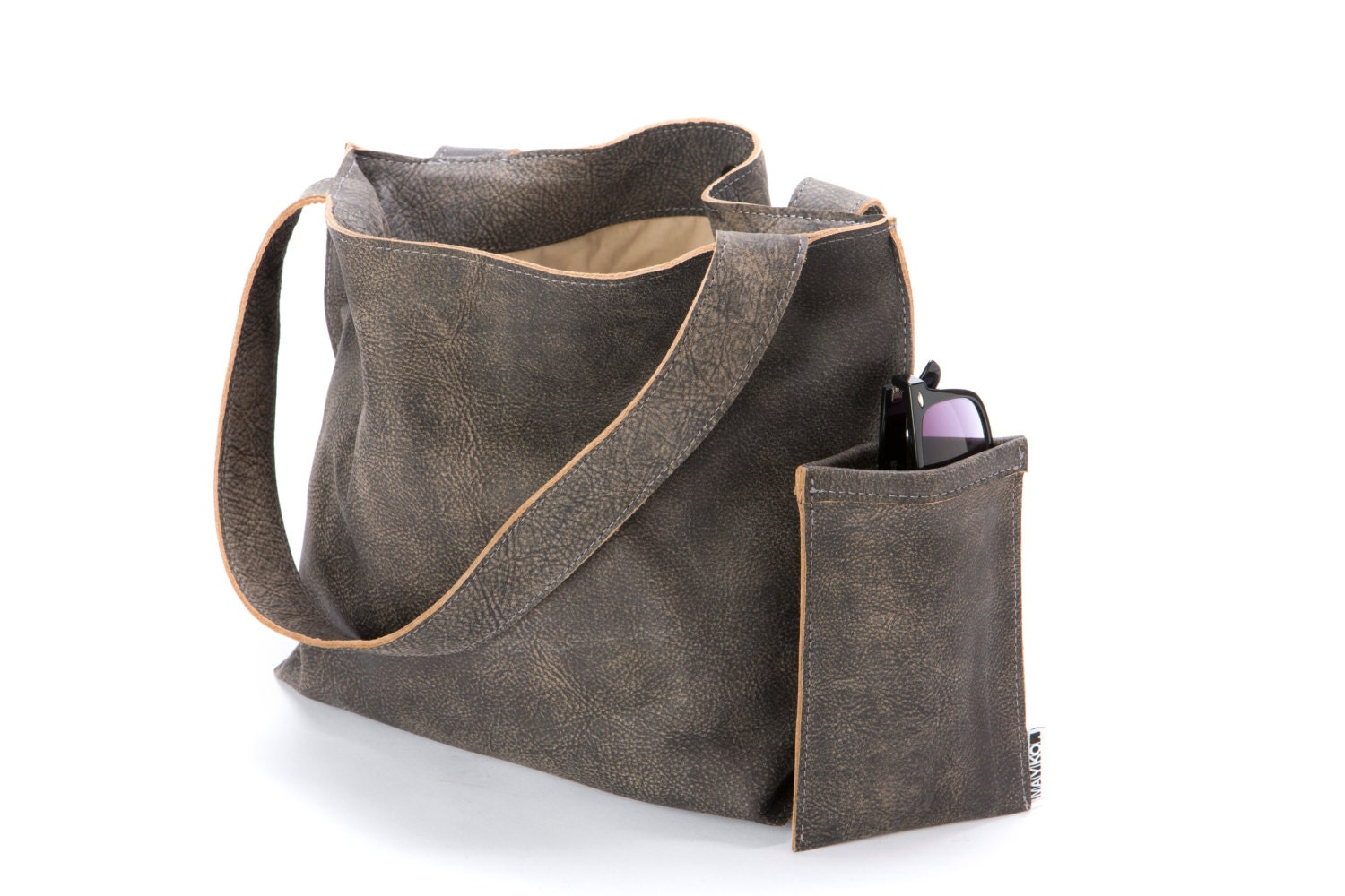 Distressed Gray Leather Tote Oversized Leather Tote with