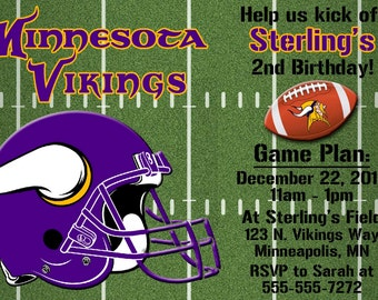 Minnesota Vikings Football Invitations or Thank you cards