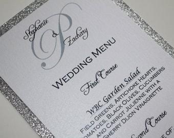 Silver Glitter Menu / Glitter Wedding Menu / Wedding Menus / Dinner Menus