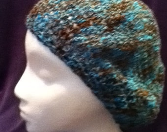 Slouch Hat in Brown and Turquoise Thread