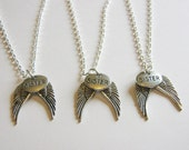 3 Sisters Angel Wing Necklaces BFF Sister