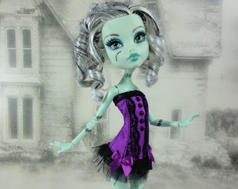 Gothic burlesque purple and black corset hand made fits Monster High doll
