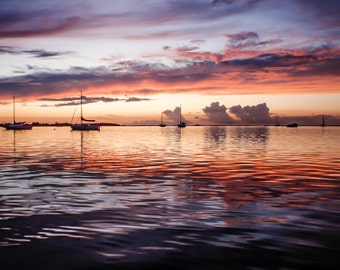 Key Largo Sunset and Sailboats Photography, Wall Art, Beach Photography