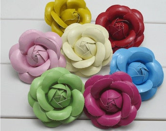 6.3cm Solid Leather flower Hair Clip,Faux Leather Flower Brooch,Flower Shoes Clips,Camellia Brooch,Bags Flower Decorator 12 colors available