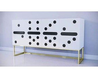 50% CLEARANCE - READY2SHIP // 4-Door Credenza or Bar with Domino Doors and Brass Base