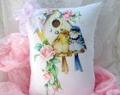 BIRDHOUSE Pillow, Pink Roses PILLOW, Bird DECOR, Shabby Birdhouse, Shabby Birds, with pink ribbon