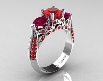 Classic 14K White Gold Three Stone Rubies Red Garnet Solitaire Ring R200-14KWGRGR