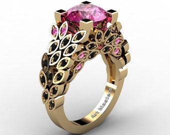 Art Masters Nature Inspired 14K Yellow Gold 3.0 Ct Pink Sapphire Black Diamond Engagement Ring Wedding Ring R299-14KYGBDDPS