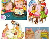 Set of FOUR Retro Vintage Child Birthday Fabric Blocks - Great for Quilting, Pillows & Wall Art - Buy 2, Get 1 FREE