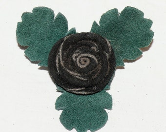 Black Button Rose Pin