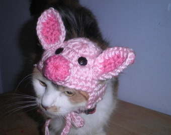 Pig Hat for Cat or Dog Crocheted Piglet Cap for Halloween Costume